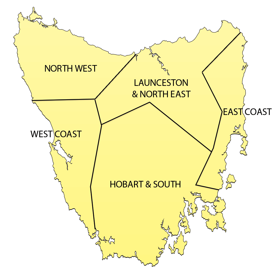 Map of Tasmania with regions