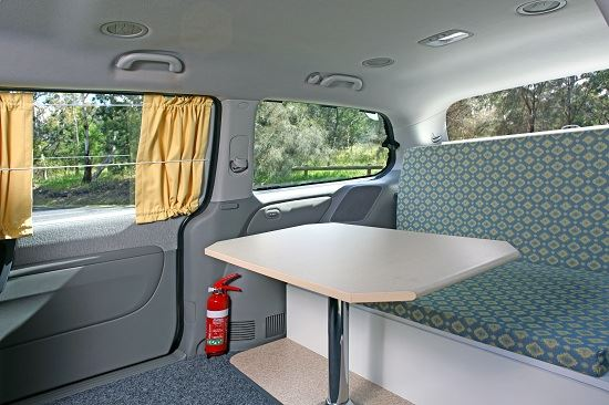 Dining area in 2 berth campervan