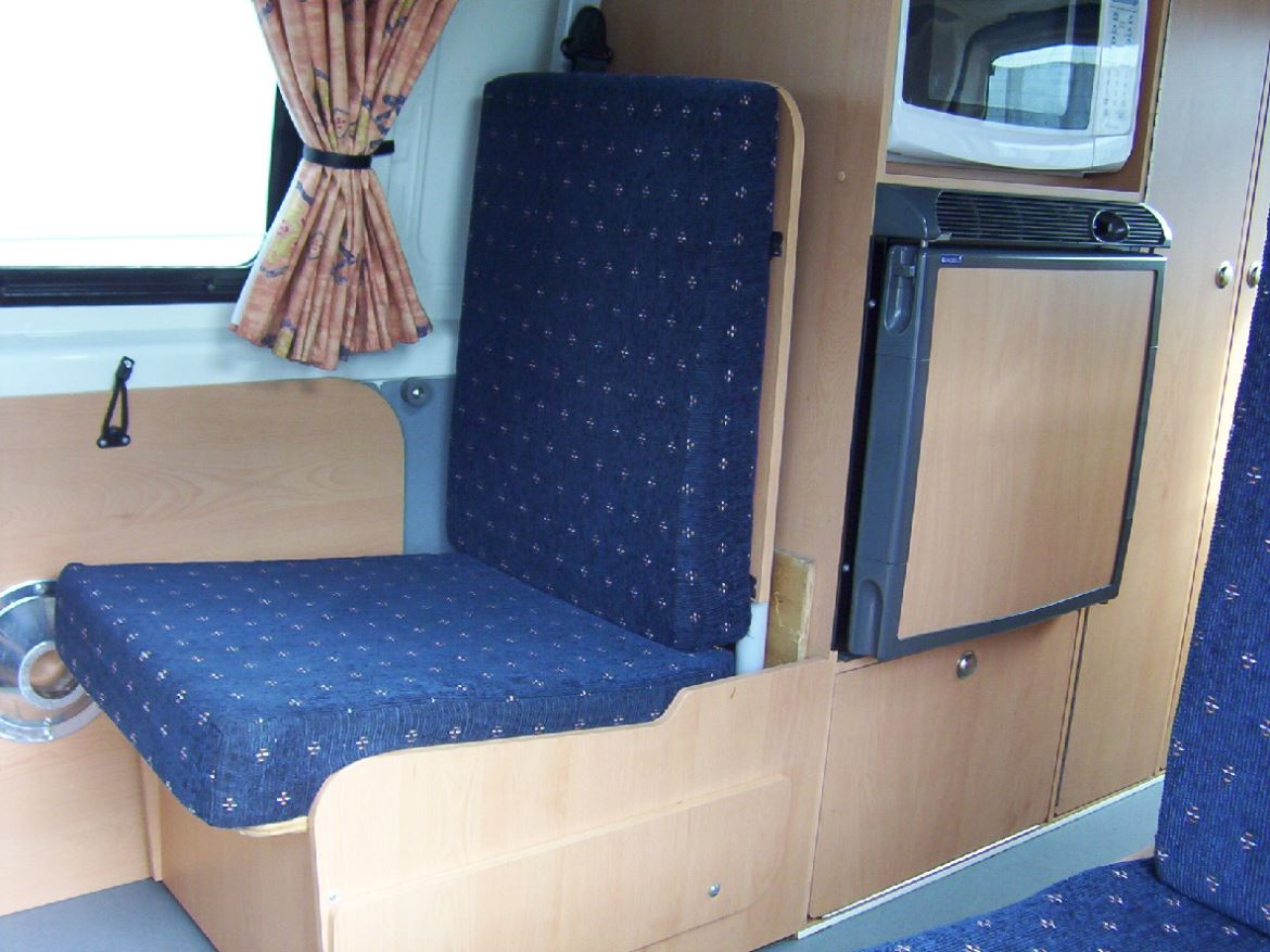 4 Berth Campervan fridge and seat