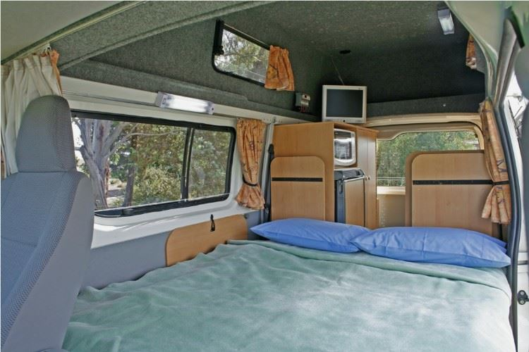 4 berth campervan double bed