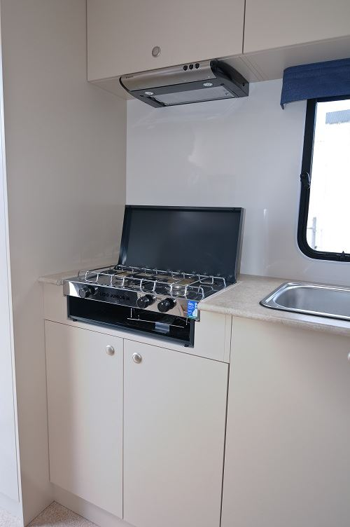 Gas cooker in 2 berth motorhome