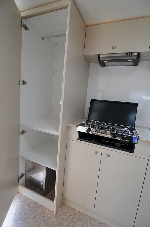Stove and Storage in 2 berth motorhome