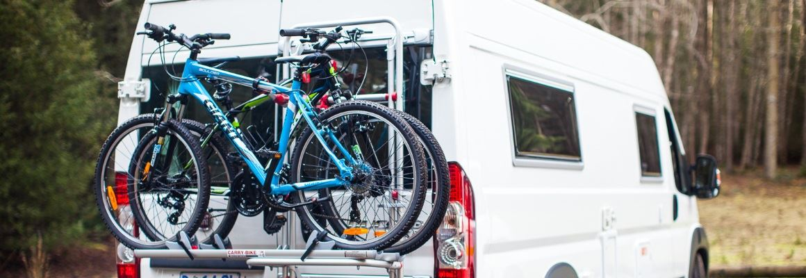 Campervan with bikes hired from AutoRent Hertz
