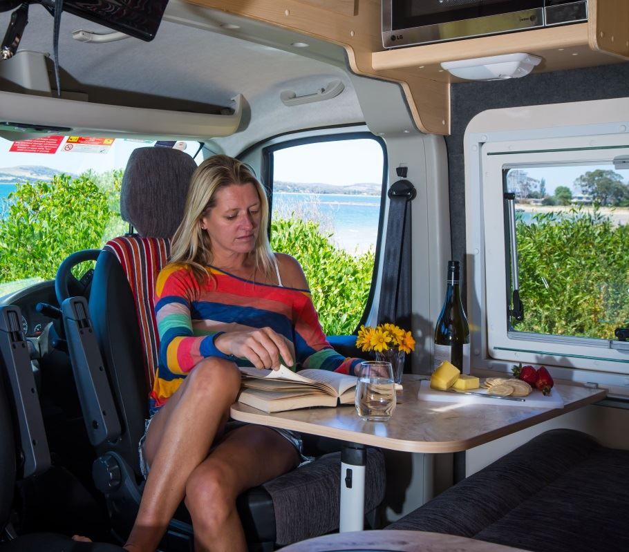 Holiday maker in campervan