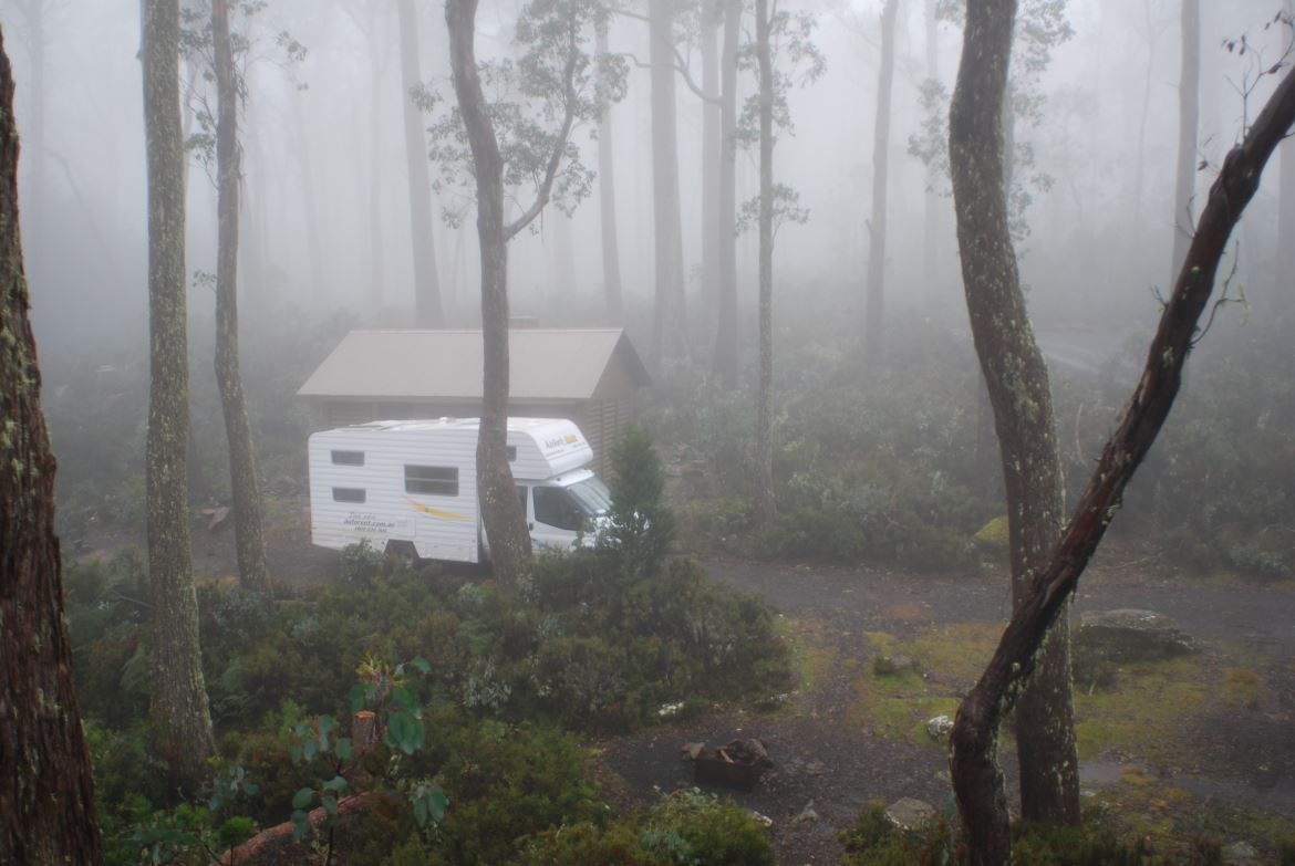 Motorhome in the mist
